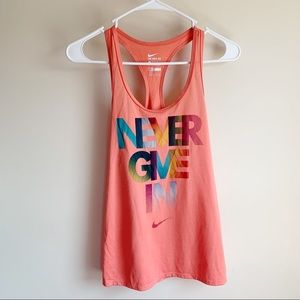 Nike Pink Never Give In Graphic Racerback Tank Top
